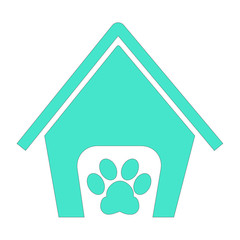 pets hotel house sign with a paw icon