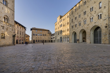 Priori square in a quiet moment of the afternoon, Volterra, Pisa, Tuscany, Italy