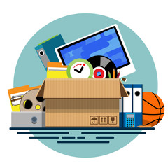 Illustration of a cardboard box with old things in a flat style. Box with old stuff vector. Monitor, clock, files, folder, a drum with a film, a music plate, a calculator, pencils, a basketball