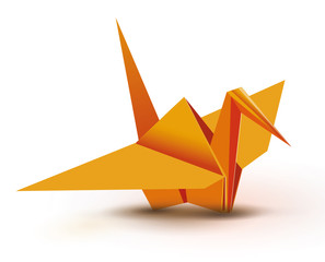 Origami. Origami crane. Orange origami crane. Orange paper origami crane. Paper crane. Vector illustration Eps10 file