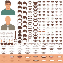 vector illustration of man face parts, character head, eyes, mouth, lips, hair and eyebrow icon set