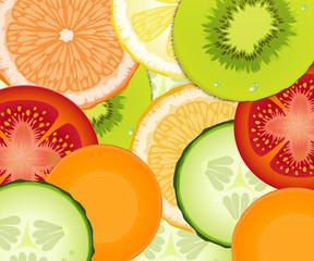 pattern realistic tomato, cucumber, lemon, carrot, grapefruit, orange, kiwi, fresh vegetarian texture,