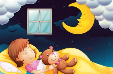 Girl sleeping at nighttime