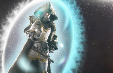 Warrior magician surrounded by a magic shield