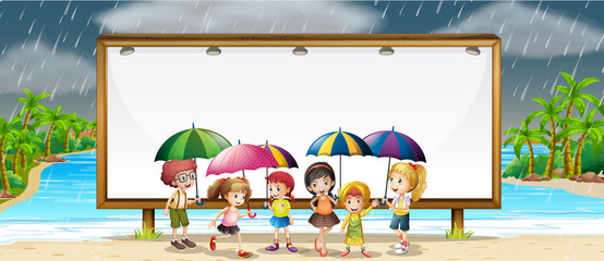 Board template with kids in the rain