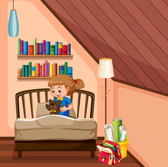 Little girl and teddybear in bedroom