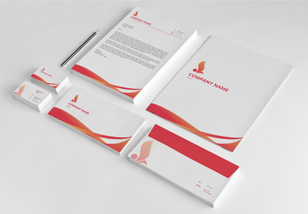 Red Branded Stationery Layout Set 1