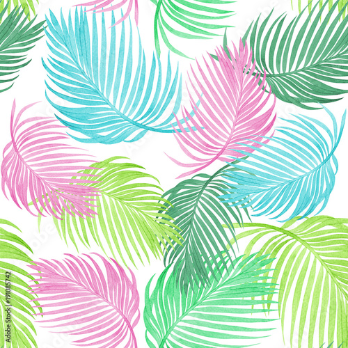 Watercolor Painting Colorful Coconutpalm Leafgreen Leave Seamless Pattern BackgroundWatercolor Hand
