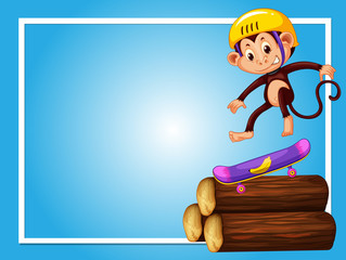 Frame design with monkey on skateboard