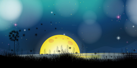 Background scene with fullmoon at the lake