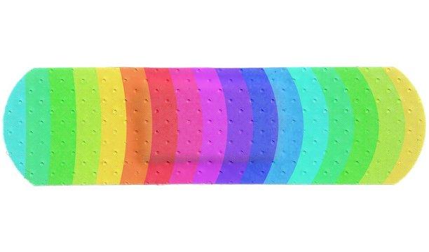 Strip of ADHESIVE BANDAGE PLASTER - Colorful Rainbow Style