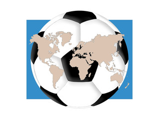 World map and soccer ball on the white background