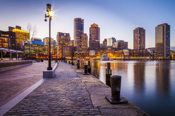 The Boston Harbor and Financial District in Boston, MA, USA.