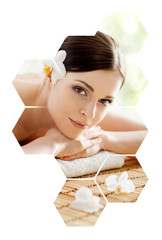 Young and beautiful woman in spa. Collage with honeycomb mosaic tiles. Massaging and healing concept.