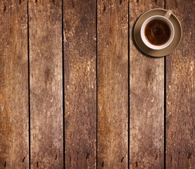 Cup of coffee on table,top view
