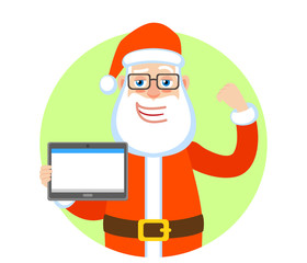 Santa Claus holding tablet and  showing biceps. Portrait of Cartoon Santa Claus Character. Vector illustration in a flat style.