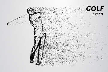 Golf of particles. Male Golf player teeing off Golf ball