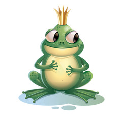 Cartoon frog. Cute frog with crown isolated on white background. Cartoon 3d character vector symbol.