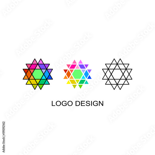 vector illustration set of three geometrical logo template simple