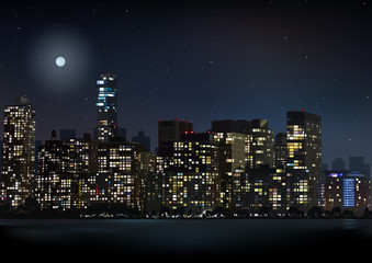 Night City Skyline - Detailed Background Illustration, Vector