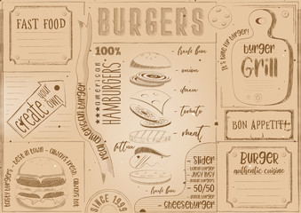 Burger Placemat Place for Text