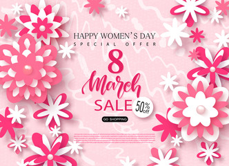 8 March Happy Womens Day sale banner. Beautiful Background with paper flowers. Vector illustration for website , posters, email and newsletter designs, ads, coupons, promotional material.