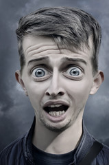 Humorous caricature of a scared man