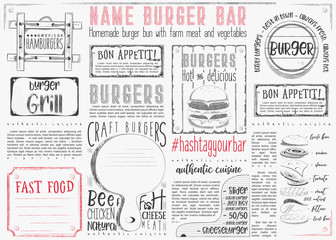 Burger Placemat on Craft Paper