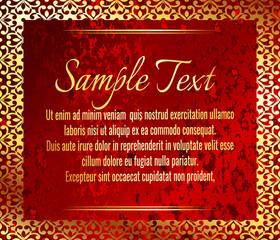 Greeting card or wedding and party invitation decoration. Frame on red grunge pattern background with a shiny gold ribbon.