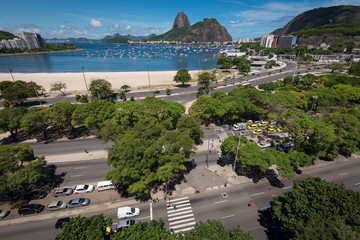 View of Sugarloaf Mountain from Botafogo Shopping Mall in Rio de Janeiro, Brazil