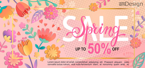 Spring sale flyer, banner with lettering on pink background with beautiful flowers. Vector illustration template, card, banner, poster, voucher discount.