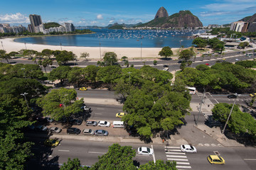 Wall Mural - View of Sugarloaf Mountain from Botafogo Shopping Mall in Rio de Janeiro, Brazil