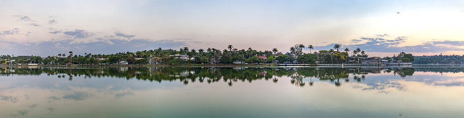 Belo Horizonte, Minas Gerais, Brazil. Panoramic view of Pampulha Lake in sunset