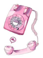 Pink Retro Phone. Watercolor sketch