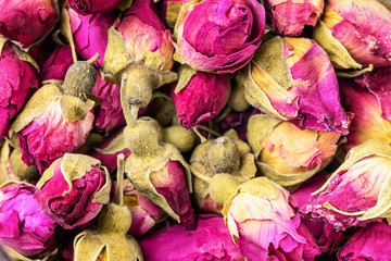Flowers buds of dry pink roses Asian Food background