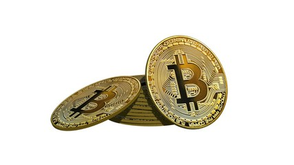 Bitcoin coin - stack of golden Bitcoins coins on a white background