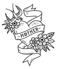 Isolated tattoo heart with ribbon, swallow, flowers and word Mother. Black and white illustration for Mother Day.