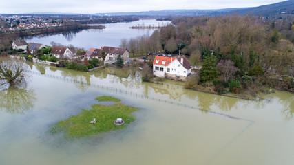 Crue de la Seine à Triel sur Seine, dans les Yvelines. 30 Janvier 2018