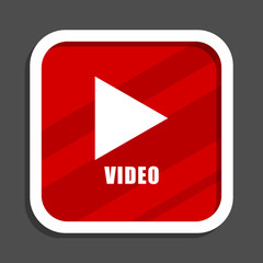 Video play icon. Flat design square internet banner.