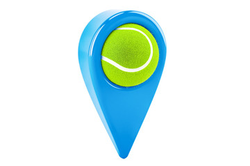 Map pointer with tennis ball, location concept. 3D rendering