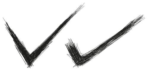 check mark hand drawn vector