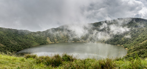 Lake inside Bisoke volcano crater, Virunga volcano national park, Rwanda