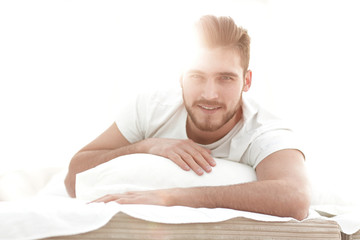 closeup.background image of a man resting at home.