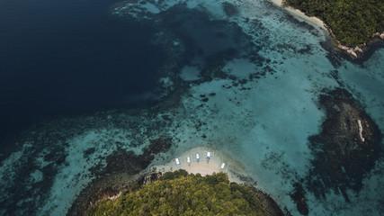 High angle idyllic view of islands amidst sea