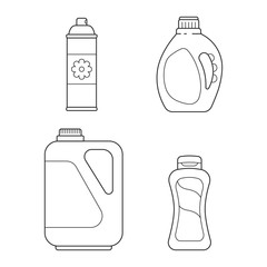 Set line icon bottle detergent, cleaner and spray