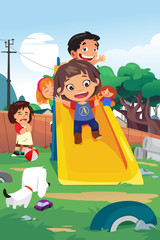 Kids Playing in the Playground Illustration