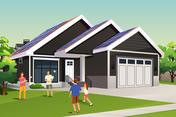 Family Playing Outside Their Home with Solar Roof