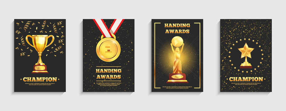Award Gold Trophy Posters Set