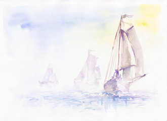 yachting regatta sails on the sea, through the silence and fog. Watercolor.