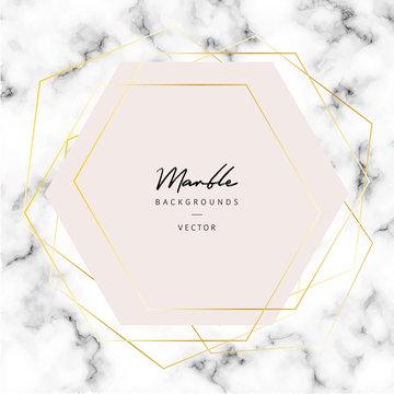 Vector marble texture background with golden hexagons